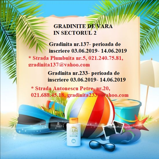 Program de vara gradinite